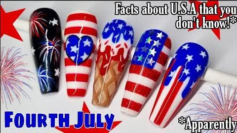 🇺🇲 U.S.A FLAG NAIL ART   FIREWORKS   4TH JULY   America   Gel Polish Designs