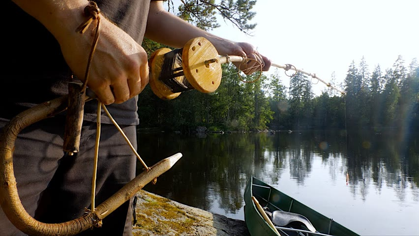 BUSHCRAFT SPINNING REEL AND ROD - SOLO OVERNIGHT - CATCH AND ROAST FISH ON SPIT