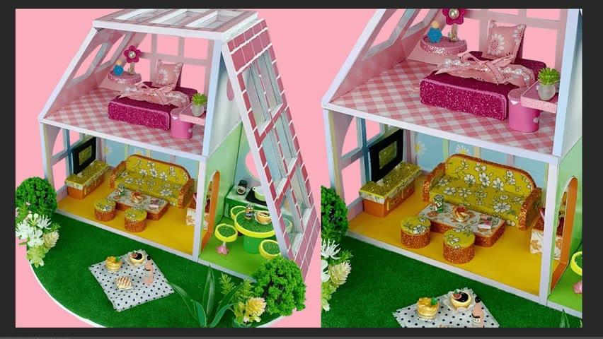DIY Miniature 2-Floor Color House Having 3 Rooms In 3 Colors: Yellow, Green & Pink | Cocokid Corner