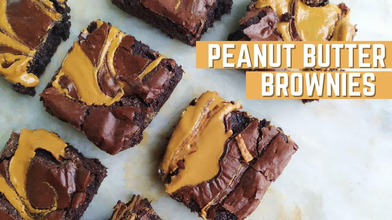 The Best FUDGY BROWNIES Recipe Ever   with Peanut Butter   Mamagician