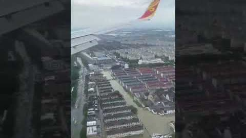 #宁波 机场起飞的深圳航空公司飞机上,俯瞰宁波市区的水情。