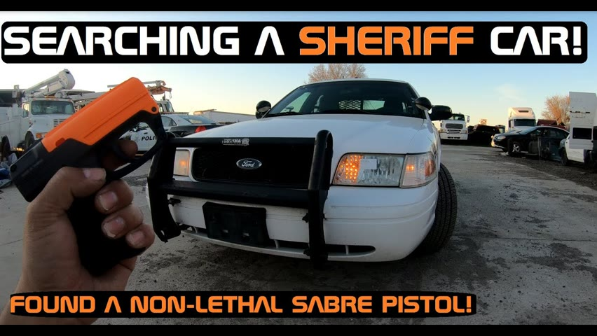 Searching an old sheriff car! Found a Less than lethal Sabre pistol!