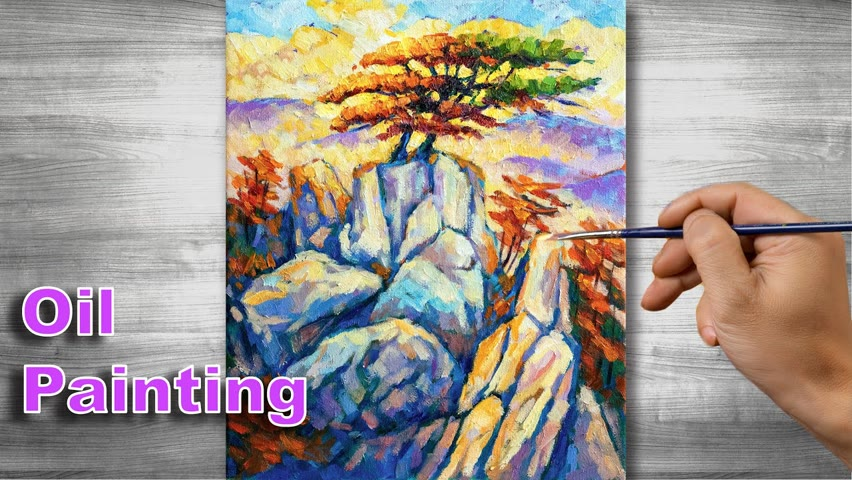 Sunset painting | Oil painting time lapse |#308