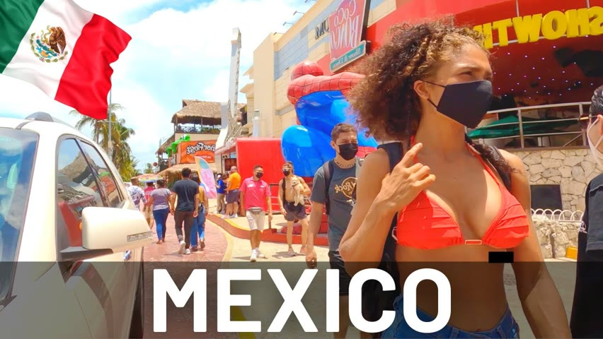 MEXICO Beach and Party Walking Tour Cancún 2021 🇲🇽 4K Walk in Mexico