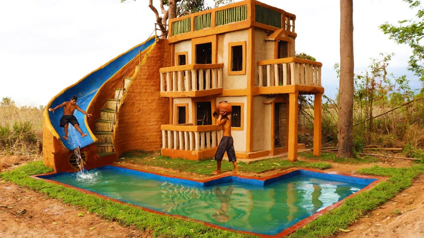 Build Fantastic Modern Mud Villa, Pool & Design Water Slide To Delightful Underground Swimming Pool