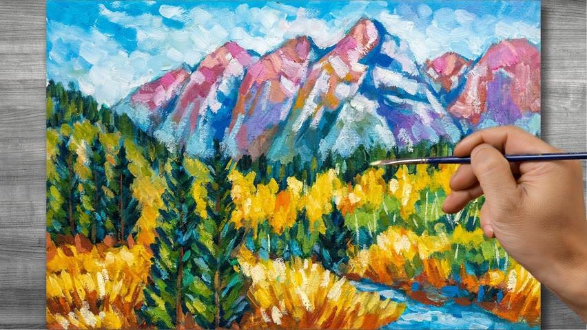 Autumn landscape painting   Oil painting time lapse  #319