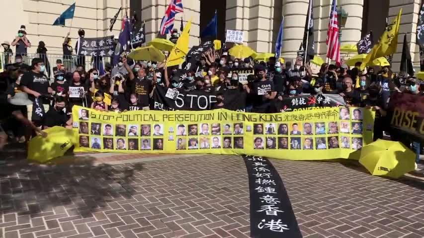 【現場實拍】0612 南加帕薩迪納 香港 「反送中」兩週年紀念集會 Stand with Hong Kong rally @ Pasadena City Hall