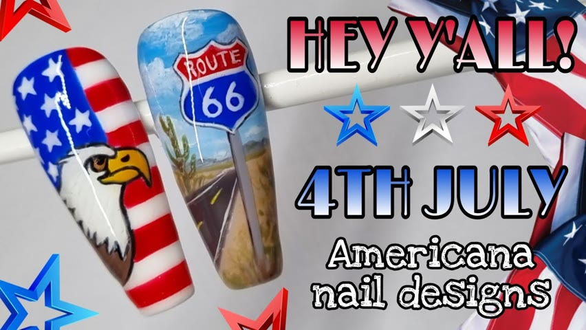🇺🇲 4TH JULY   Independence Day Nail Art Designs   America Nails   USA Flag   Route 66   Gel Polish