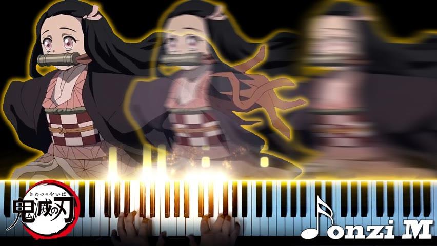 Nezuko running on the piano while I play Demon Slayer songs
