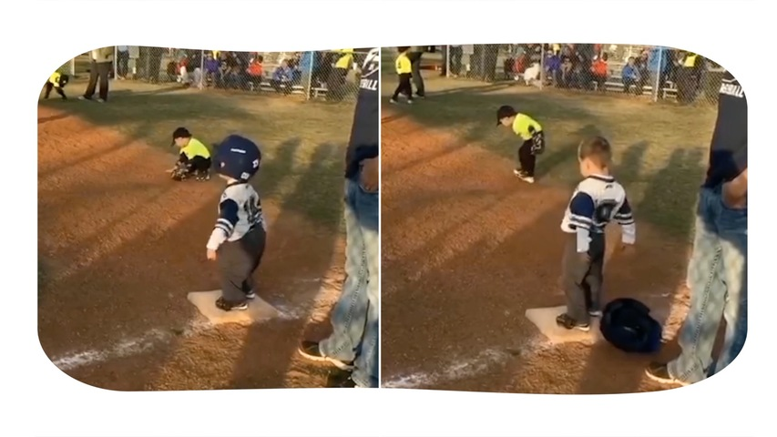 Kid Busts a Groove at First Base