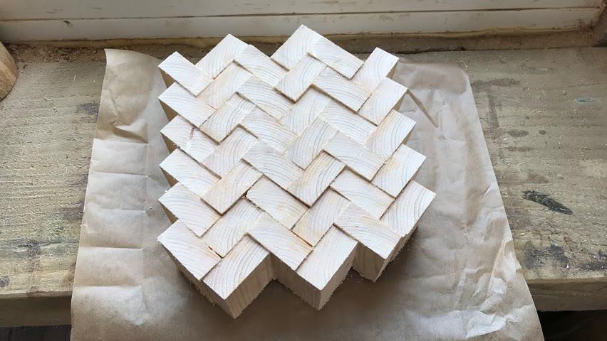 Wood turning - Pine Herringbone Bowl