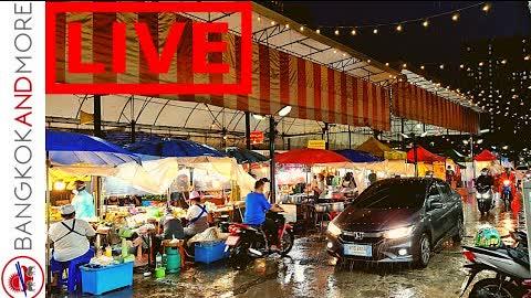🔴 LIVE From Rainy Bangkok Street Food Market ❤️🇹🇭