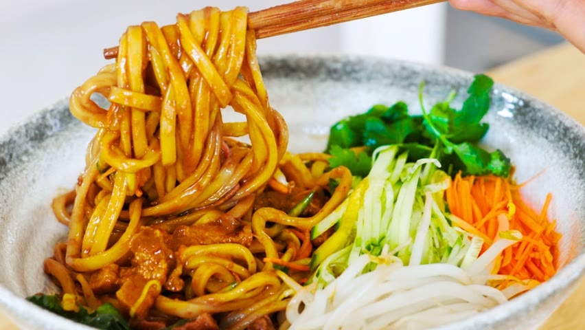 """Noodles with Soybean Paste & Pork Belly Recipe, #Shorts """"CiCi Li - Asian Home Cooking"""""""