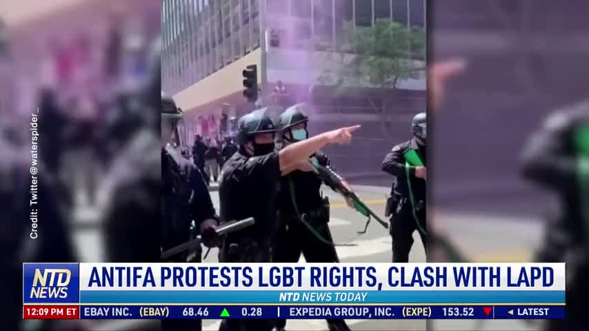 Antifa Clashes With LAPD Outside Spa