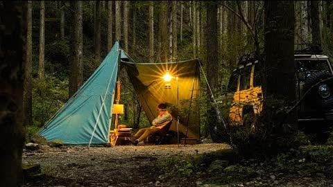 【ソロキャンプ】静かな林の中で薪ストーブとパイプオーブンで料理を楽しむ/テンマクデザインウッドストーブサイドビュー