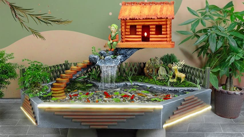 Make a beautiful mini waterfall aquarium from cement
