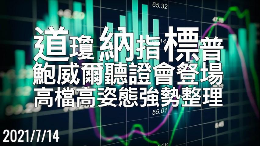 美股 鲍威尔听证会重磅登场,盘势仍为高档高姿态的强势整理 7/14