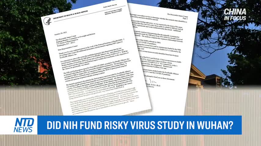 Letter From NIH Official Discloses Key Information About Studies Conducted at Wuhan Lab