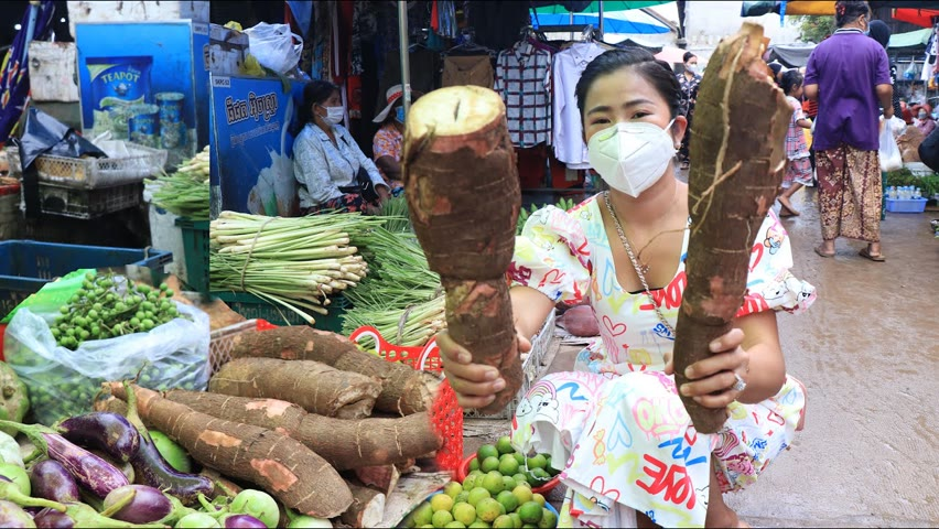 Wet market in the morning, Buy cassava for my recipe / Yummy cassava cooking