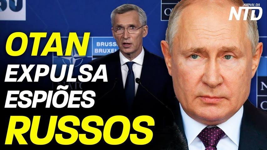 OTAN expulsa espiões russos; Laços do presidente da Rússia à espionagem soviética