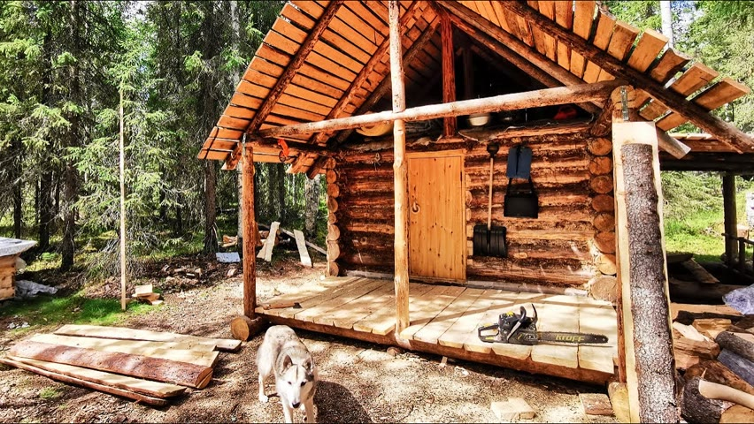 Off Grid Cabin.  Life in the taiga with mosquitoes. Shower day at the cabin in the Log Sauna