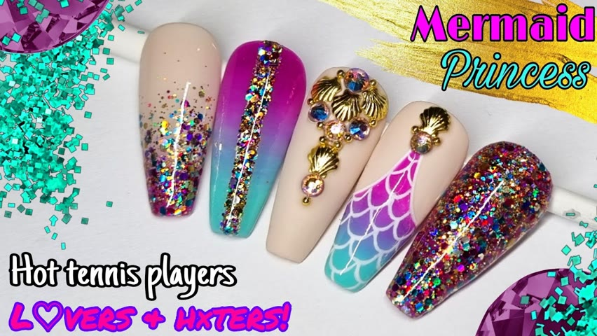 🧜♀️ GLITTER MERMAID   Gel Polish Nail Art Tutorial   Summer Nails   L♡vers & h×ters is BACK!!!