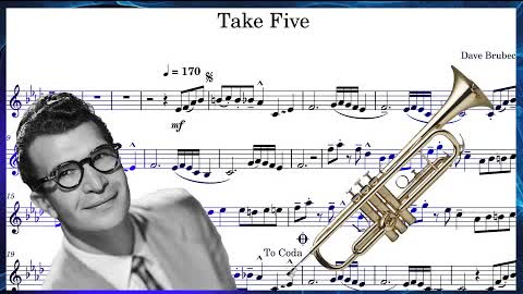Dave Brubeck - Take Five (Trumpet Sheet Music) With Play Along!