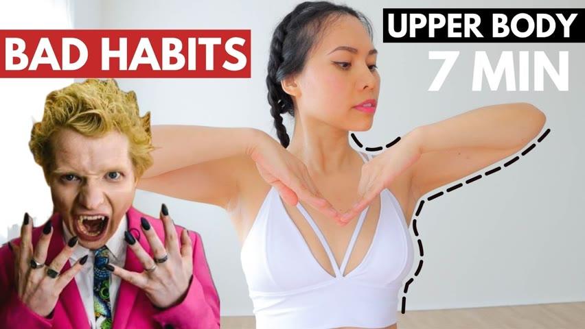7 Min INTENSE upper body BURN🔥arms, chest, neck, shoulders, bra bulge. Ed Sheeran Bad Habits
