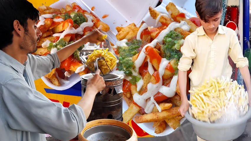 Roadside AFGHANI French Fries | OPTP & Mc Donald Style Chips | French Fries At Pakistani Street Food