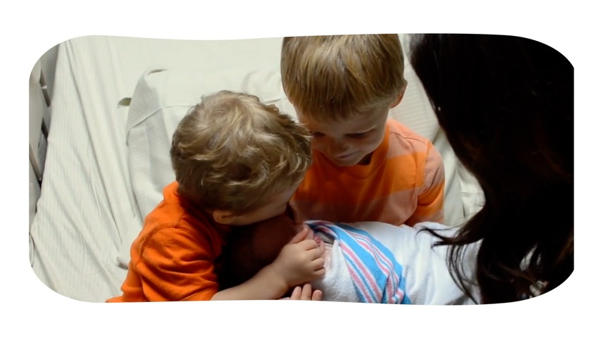 Brothers Meet New Baby Sister