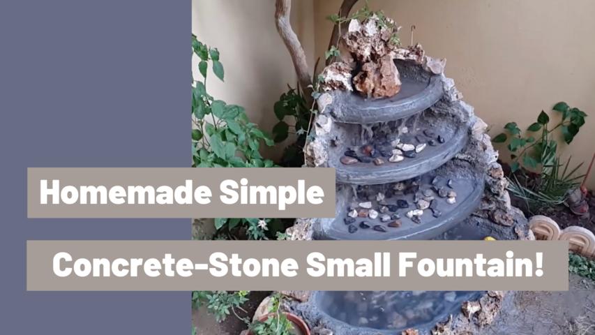 Homemade Simple Concrete-Stone Small Fountain