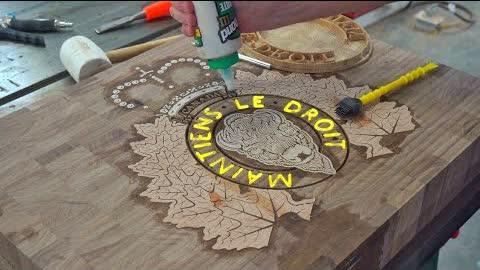 Royal Canadian Mounted Police board. Making process. CNC inlay.