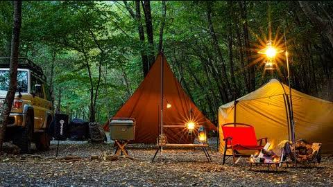 【ソロキャンプ】木漏れ日の中で晴れキャンプを楽しむ/透き通ったスープのロールキャベツ/かぼちゃのバウンドケーキ