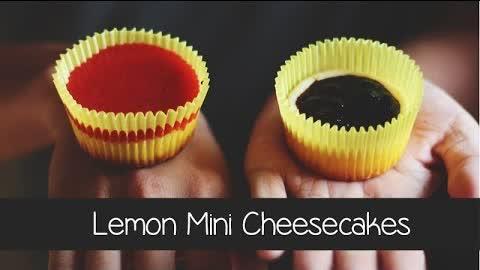 Lemon Mini Cheesecakes w/ Blueberry & Strawberry Sauce