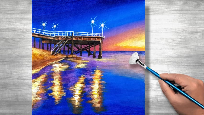 Sunset seascape painting | Acrylic painting | step by step #270