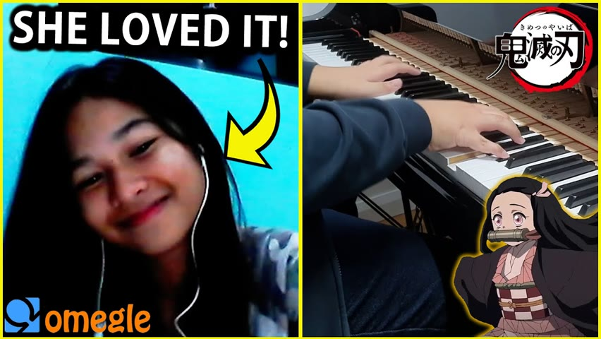 I played DEMON SLAYER OP and other anime openings on OMEGLE... (Anime Piano)
