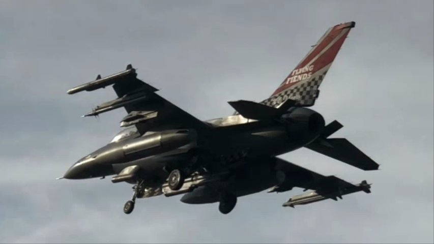 """USAF 51FW/36FS """"The Fabulous Flying Fiends"""" F-16C formation landing"""