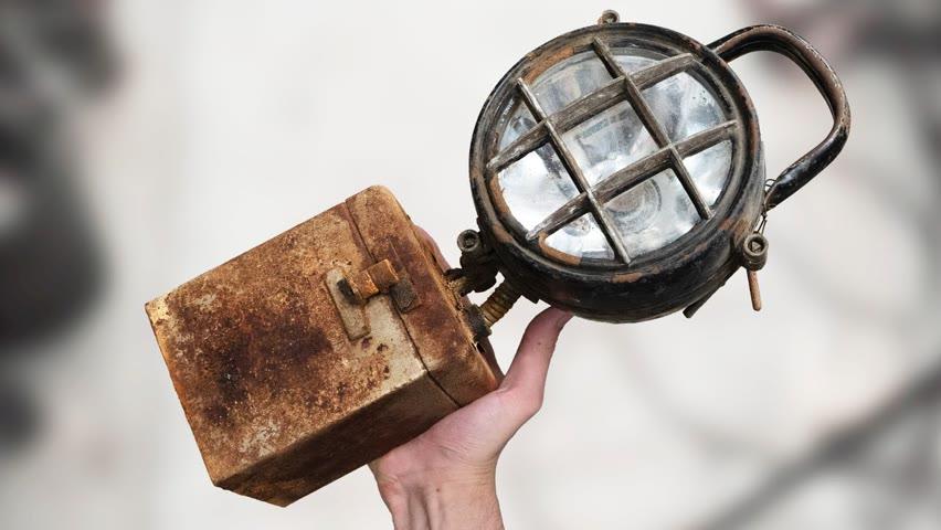 Vintage Mining Lantern and Battery Restoration