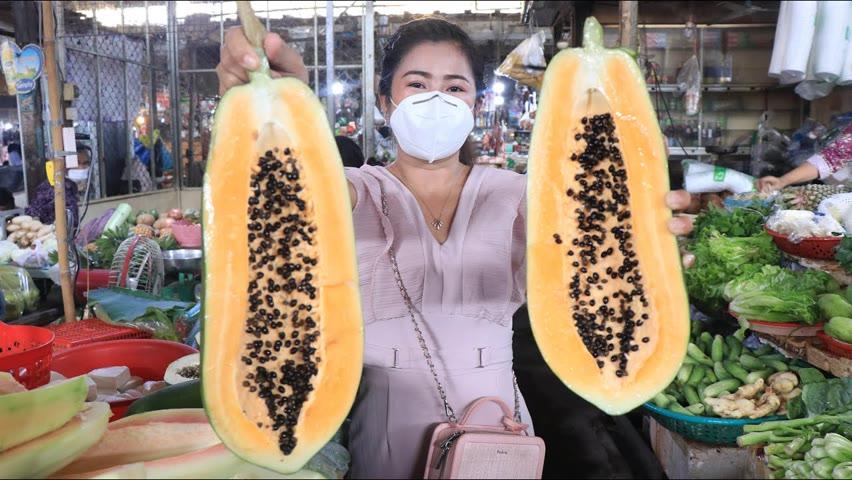 Market show, Buy ingredient to make fresh shrimp pickled papaya / Yummy pickled papaya recipe