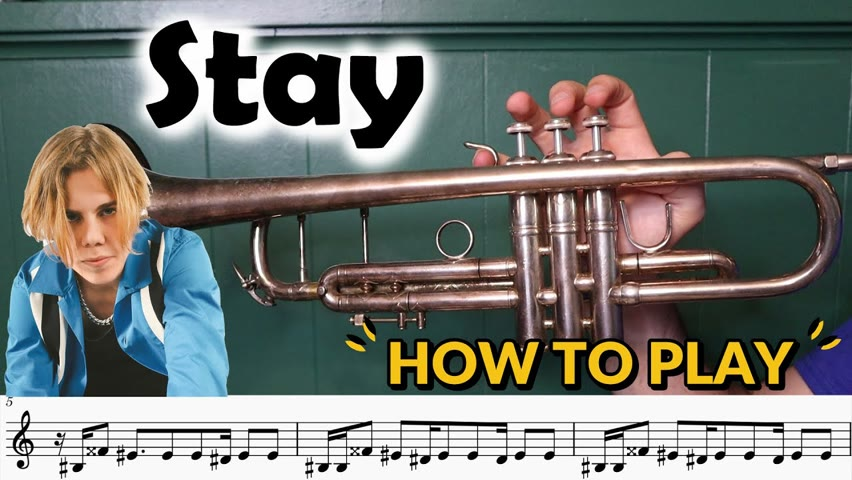 How to play STAY by Kid Laroi on Trumpet! (with sheet music)