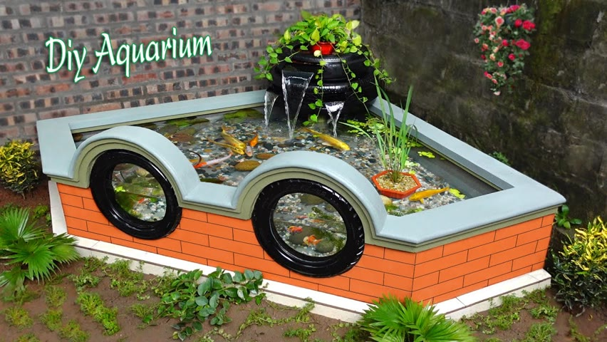 Your small garden corner will be much more beautiful with this waterfall aquarium