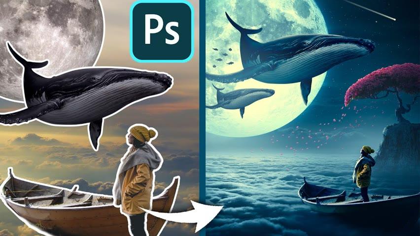 Whales Manipulation Tutorial Photoshop   Speed Art