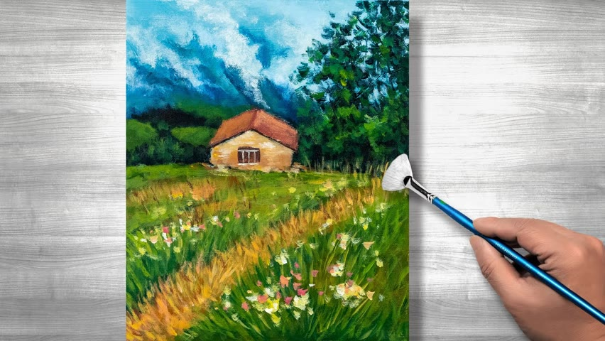 Mountain Village Landscape Painting | Acrylic painting | step by step #273