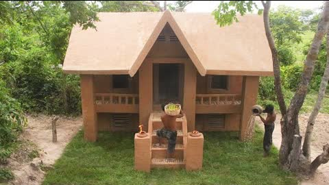 30 Day Of Build The Most Beautiful Two Story Independent Mud House Design In Forest