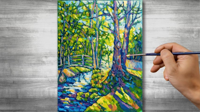 Landscape in the sun   Oil painting time-lapses   #321