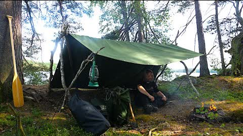 Solo Two Days Bushcraft Trip - Canvas Tarp Shelter - Fishing - Catch and Cook