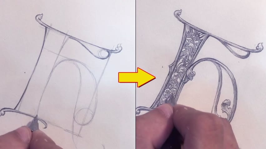 Drawing Letter H Ornamental With A Pencil | Hand Lettering | Calligraphy Masters