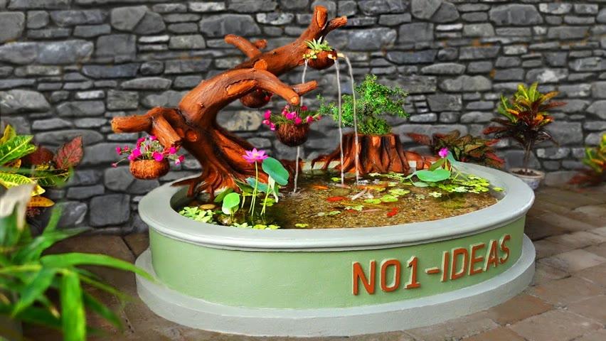 Decorate your garden corner into a beautiful waterfall aquarium very easy