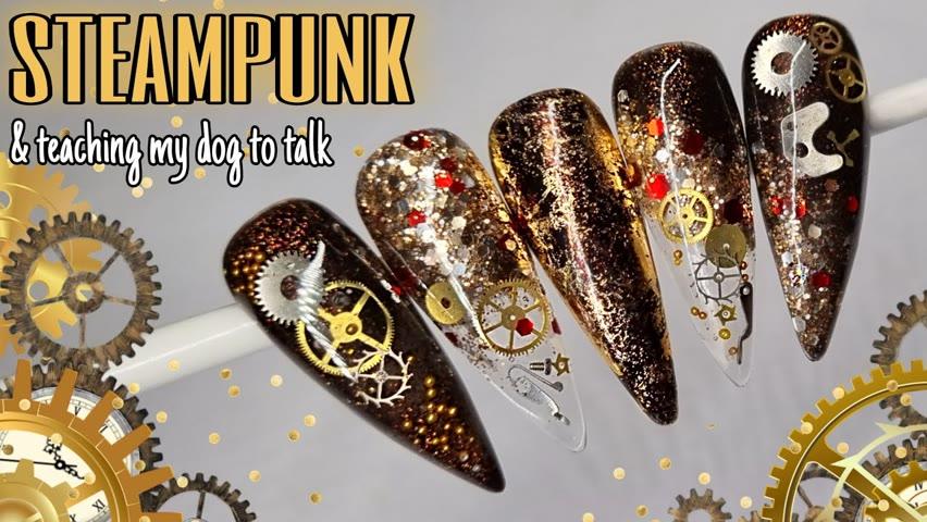 ⚙ STEAMPUNK   GEL POLISH & BUILDER   Glitter Nail Art Design   Fall Autumn
