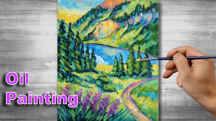Valley scenery painting | Oil painting time lapse |#306